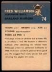 1962 Fleer #74  Fred Williamson  Back Thumbnail