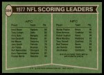 1978 Topps #334   -  Walter Payton / Errol Mann Scoring Leaders Back Thumbnail