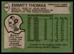 1978 Topps #426  Emmitt Thomas  Back Thumbnail
