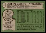 1978 Topps #444  John Zook  Back Thumbnail