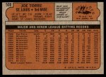 1972 Topps #500  Joe Torre  Back Thumbnail