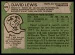 1978 Topps #484  David Lewis  Back Thumbnail