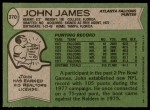 1978 Topps #370  John James  Back Thumbnail