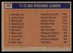 1972 Topps #263   -  Mel Daniels / Julius Erving / Artis Gilmore  ABA Rebound Leaders Back Thumbnail