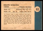 1961 Fleer #63   -  Dolph Schayes In Action Back Thumbnail