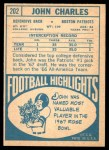 1968 Topps #202  John Charles  Back Thumbnail