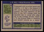 1972 Topps #188  J.D. Hill  Back Thumbnail