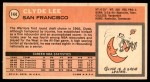 1970 Topps #144  Clyde Lee   Back Thumbnail