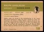 1961 Fleer #108  Ralph Guglielmi  Back Thumbnail