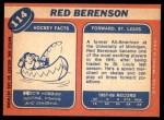 1968 Topps #114  Red Berenson  Back Thumbnail