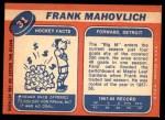 1968 Topps #31  Frank Mahovlich  Back Thumbnail