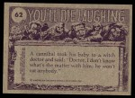1973 Topps You'll Die Laughing #62   Wake up miss Back Thumbnail