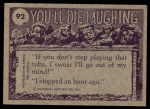 1973 Topps You'll Die Laughing #92   Do you have dishpan hands? Back Thumbnail