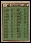 1976 Topps #197   -  Joe Morgan / Lou Brock / Dave Lopes  NL SB Leaders   Back Thumbnail