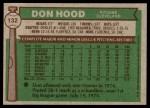 1976 Topps #132  Don Hood  Back Thumbnail