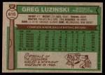 1976 Topps #610  Greg Luzinski  Back Thumbnail