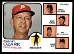 1973 Topps #486 ORG  -  Danny Ozark / Carroll Beringer / Billy De Mars / Ray Rippelmeyer / Bobby Wine Phillies Leaders Front Thumbnail