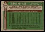 1976 Topps #169  Graig Nettles  Back Thumbnail