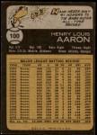 1973 Topps #100  Hank Aaron  Back Thumbnail