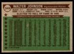1976 Topps #349   -  Walter Johnson All-Time All-Stars Back Thumbnail