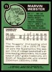 1977 Topps #71  Marvin Webster  Back Thumbnail