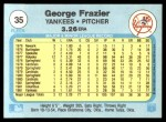 1982 Fleer #35  George Frazier  Back Thumbnail