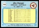 1982 Fleer #164  Jim Dwyer  Back Thumbnail