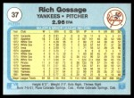 1982 Fleer #37  Goose Gossage  Back Thumbnail