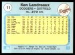 1982 Fleer #11  Ken Landreaux  Back Thumbnail