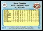 1982 Fleer #79  Ron Oester  Back Thumbnail