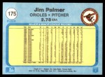 1982 Fleer #175  Jim Palmer  Back Thumbnail