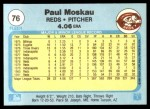 1982 Fleer #76  Paul Moskau  Back Thumbnail