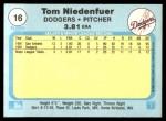 1982 Fleer #16  Tom Niedenfuer  Back Thumbnail
