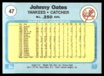 1982 Fleer #47  Johnny Oates  Back Thumbnail