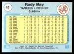 1982 Fleer #41  Rudy May  Back Thumbnail