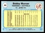 1982 Fleer #44  Bobby Murcer  Back Thumbnail