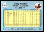 1982 Fleer #185  Gary Carter  Back Thumbnail