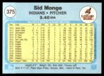 1982 Fleer #375  Sid Monge  Back Thumbnail