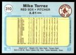 1982 Fleer #310  Mike Torrez  Back Thumbnail