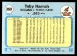 1982 Fleer #369  Toby Harrah  Back Thumbnail