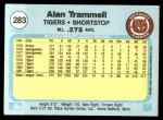 1982 Fleer #283  Alan Trammell  Back Thumbnail