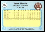 1982 Fleer #274  Jack Morris  Back Thumbnail