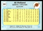 1982 Fleer #391  Al Holland  Back Thumbnail