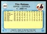 1982 Fleer #202  Tim Raines  Back Thumbnail
