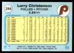 1982 Fleer #244  Larry Christenson  Back Thumbnail
