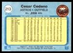 1982 Fleer #213  Cesar Cedeno  Back Thumbnail