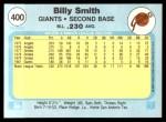1982 Fleer #400  Billy Smith  Back Thumbnail