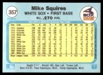 1982 Fleer #357  Mike Squires  Back Thumbnail