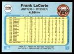 1982 Fleer #220  Frank LaCorte  Back Thumbnail