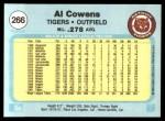 1982 Fleer #266  Al Cowens  Back Thumbnail